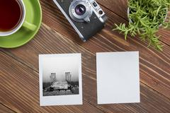 Travel, vacation concept. Camera, notepad, pen, credit card, supplies and - stock photo