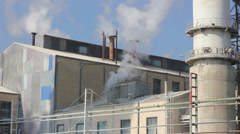 Smoke and steam from industrial plant Stock Footage