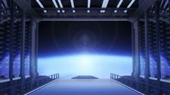 Space Door, Animation of neon lighting and opening a door in Space. Stock Footage