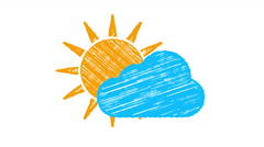 Weather icon cloudy, sun and blue cloud painted with chalk 4K Stock Footage