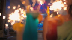 Party time with sparkling cocktails Stock Footage