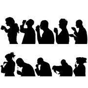 Vector silhouettes people. Stock Illustration