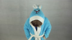 The boy in the costume of the Easter Bunny Stock Footage