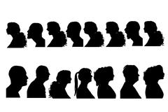 Vector silhouettes people. - stock illustration