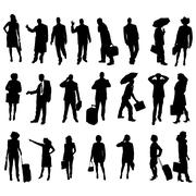 Vector silhouettes of business people. - stock illustration