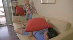 Pillow battle at home - stock footage