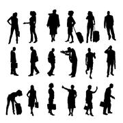 Stock Illustration of Vector silhouettes of business people.