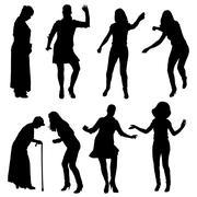 Vector silhouette of women. - stock illustration