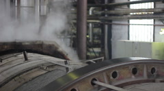 Steam inside of industrial plant - stock footage