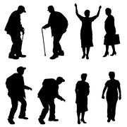 Vector silhouette of old people. - stock illustration