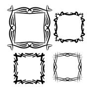 Frame vector set hand drawn icons illustration black and white, decorative bo - stock illustration