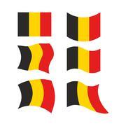 Flag of Belgium. Set national flag of Belgian state. Developing European flag Stock Illustration