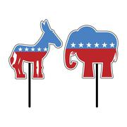 Elephant and donkey. Symbols of Democrats and Republicans. Political parties  Stock Illustration