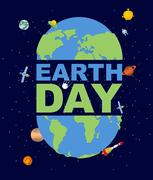 Earth Day emblem. Logo for Holidays of  Earth. Silhouette of continents and o - stock illustration
