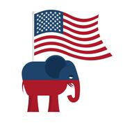 Republican Elephant. Symbol of political party in America. Political illustra Stock Illustration