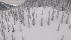 Aerial Drone footage of snowboarder mountains riding down tree run - stock footage