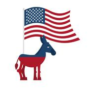 Donkey Democrat. Symbol of political party in America. Political illustration - stock illustration