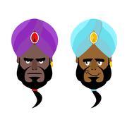 Arab sheikh. Angry Arab sheikh. Cheerful Arabic man wearing turban. Turban- N Piirros