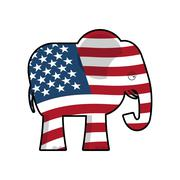 Republican Elephant. Symbol of political party in America. Political illustra Stock Illustration