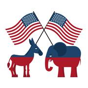 Elephant and donkey. Symbols of Democrats and Republicans. Political parties  - stock illustration