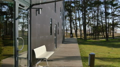 The eventhouse is situated in beautiful nature in Falsterbo Stock Footage