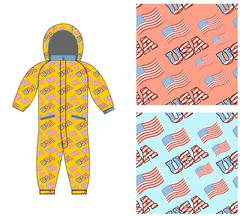Patriotic childrens clothing. Childrens clothing template. Overall with patte - stock illustration