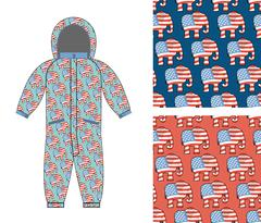 Republican baby Childrens clothing. Republican Elephant seamless pattern. Ele - stock illustration
