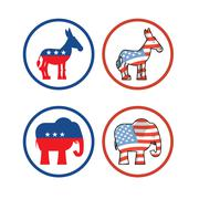 Donkey and elephant symbols of political parties in America. USA elections. D Piirros