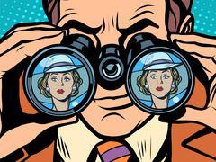 Love couple man woman binoculars Stock Illustration