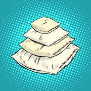 Realistic white pillows, retro vector - stock illustration