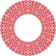 Stock Illustration of Vector round thick frame from red ornamentation