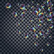 Abstract background with the multicolored realistic soap bubbles - stock illustration