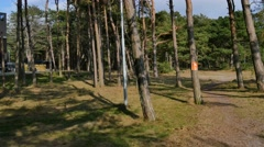 Leaving the eventhouse at  Falsterbo beach  Stock Footage
