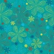 Blue floral seamless pattern - stock illustration