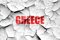 Grunge cracked Greetings from greece - stock illustration