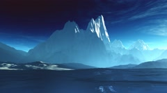 4K Antarctica Ice Field and Mountains Camera Pan stylized - stock footage