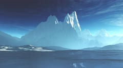 4K Antarctica Ice Field and Mountains Camera Pan - stock footage