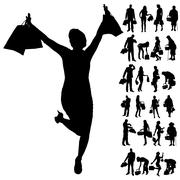 Vector silhouette of people. Stock Illustration