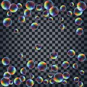 Abstract background with the multicolored realistic soap bubbles Stock Illustration