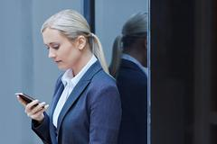 Quick text before work - stock photo