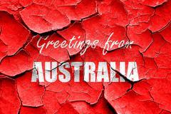 Grunge cracked Greetings from australia Stock Illustration