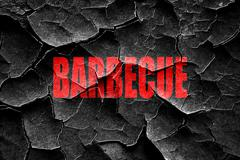 Grunge cracked Delicious barbecua sign - stock illustration
