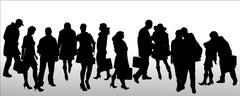 Vector silhouettes of different people. - stock illustration