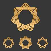 Bronze line star logo design set Stock Illustration