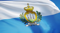 San Marino flag in slow motion seamlessly looped with alpha - stock footage