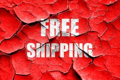 Stock Illustration of Grunge cracked free shipping sign