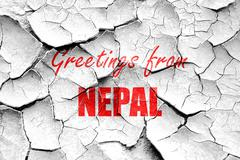 Grunge cracked Greetings from nepal - stock illustration