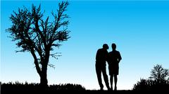 Vector silhouette of couple. - stock illustration
