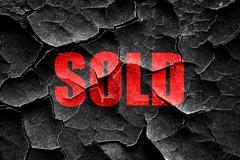 Grunge cracked sold sign background - stock illustration