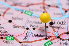 Belchatow pinned on a map of Poland Stock Photos